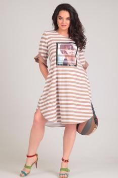 Платье Andrea Style 0060-2 кофе