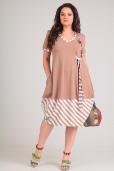 Платье Andrea Style 0064-1 кофе