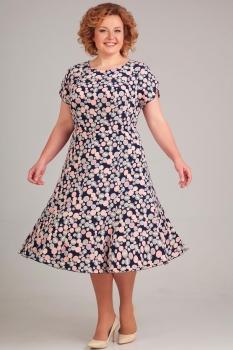Платье Асолия 2363-3 круги на темно-синем