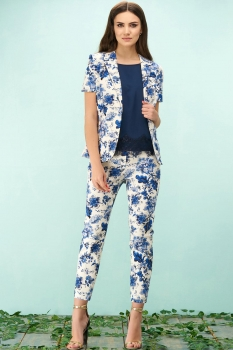 Брюки Bazalini 3115 белый с синими цветами