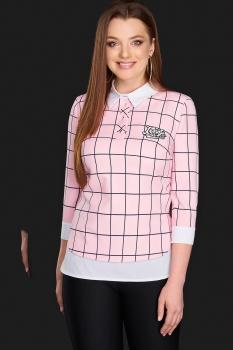 Блузка DiLiaFashion 0084-3 розовый в клетку