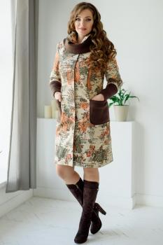 Пальто ЮРС 18-791-1 коричневый