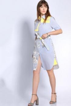 Платье Джерси 1697 голубой + желтый