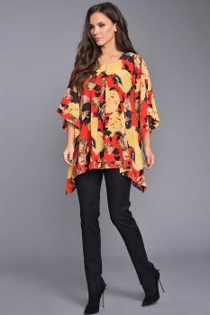 Блузка Teffi Style 1320 с желтыми цветами
