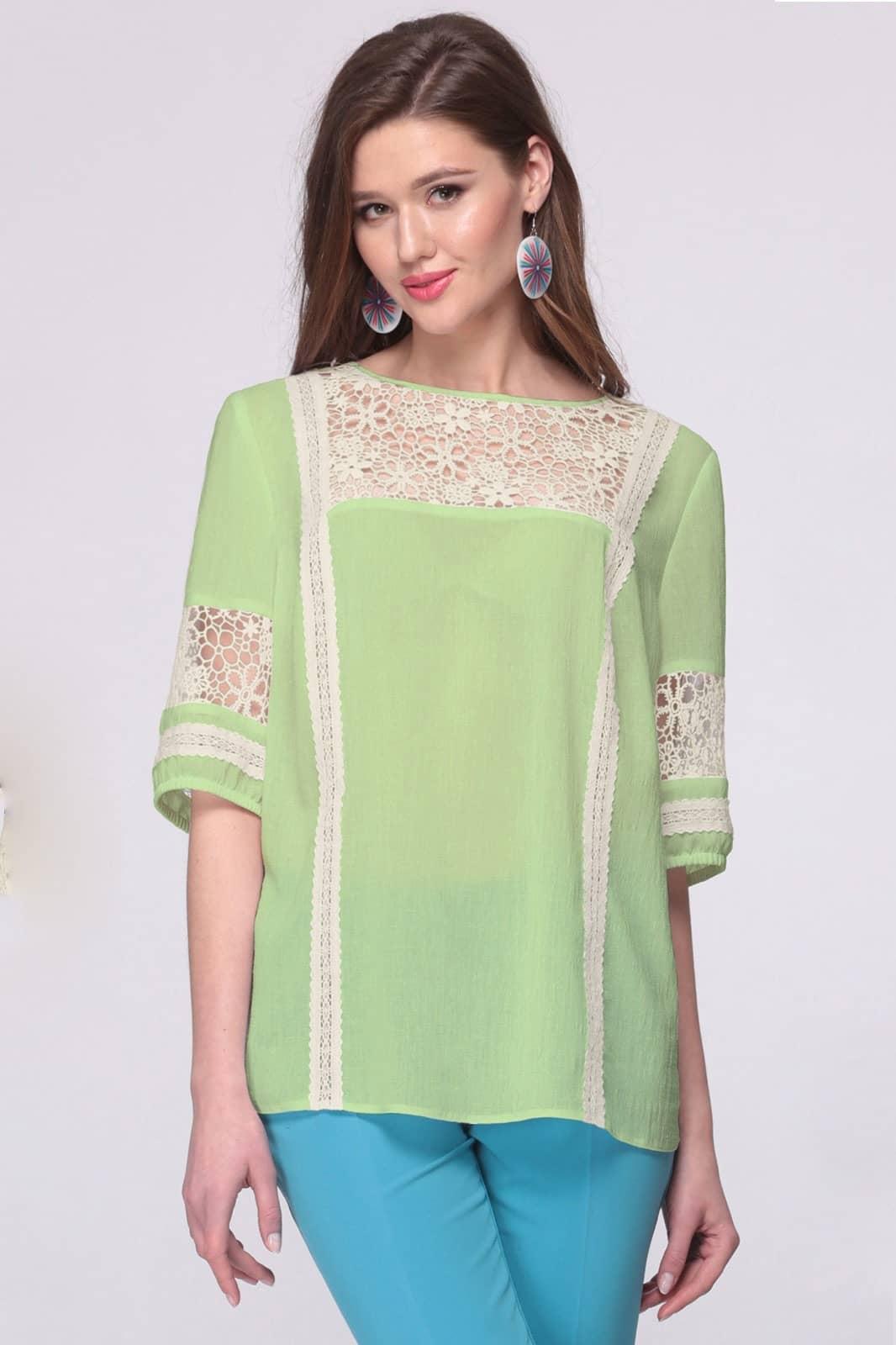 Блузка Faufilure 392С-2 оттенки зеленого - фото 1
