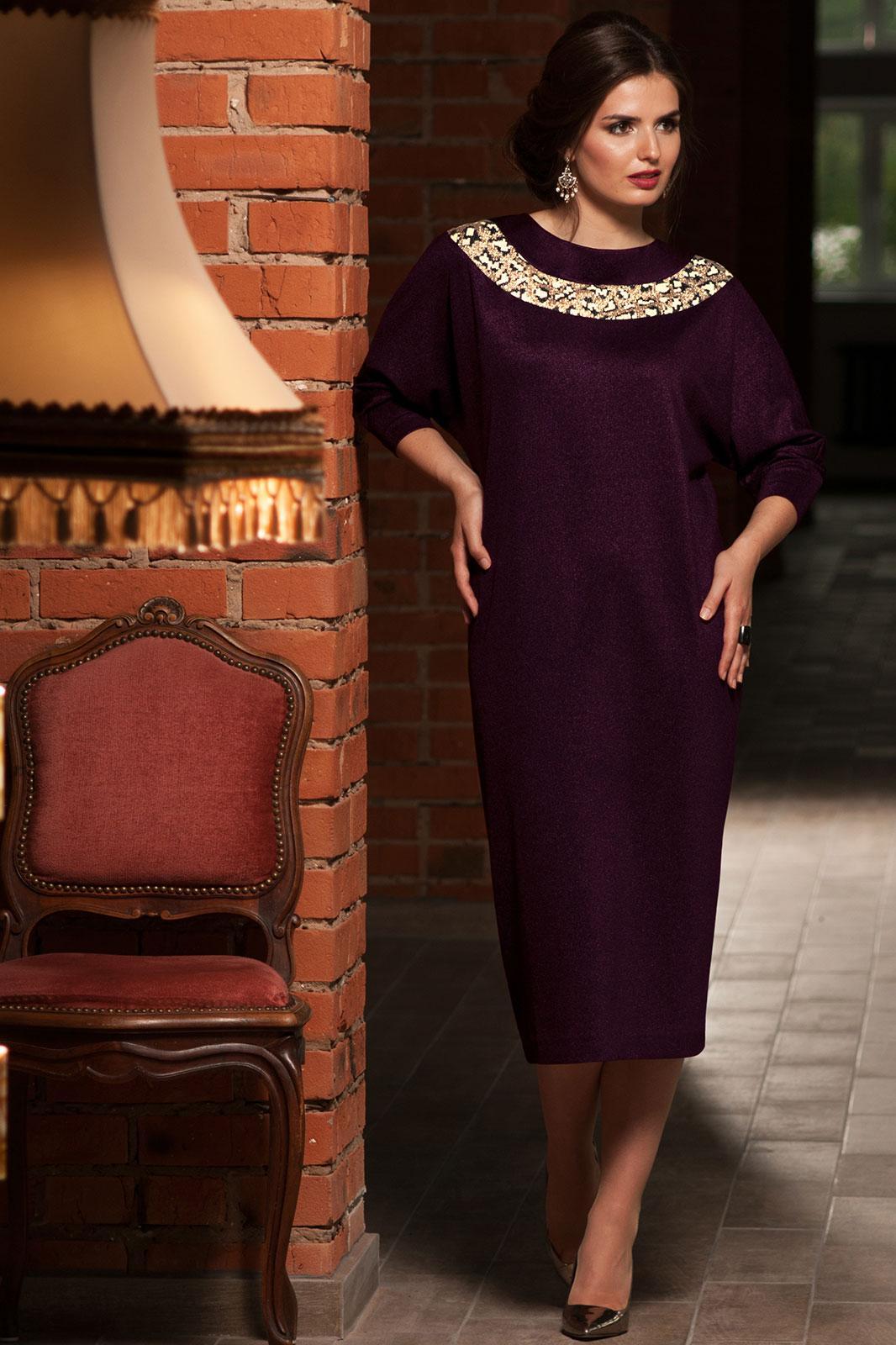 Платье Faufilure 451С-2 баклажан - фото 1