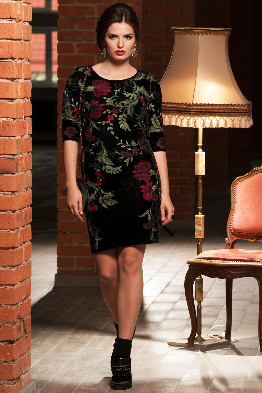 Платье Faufilure 464С цветы на черном - фото 1