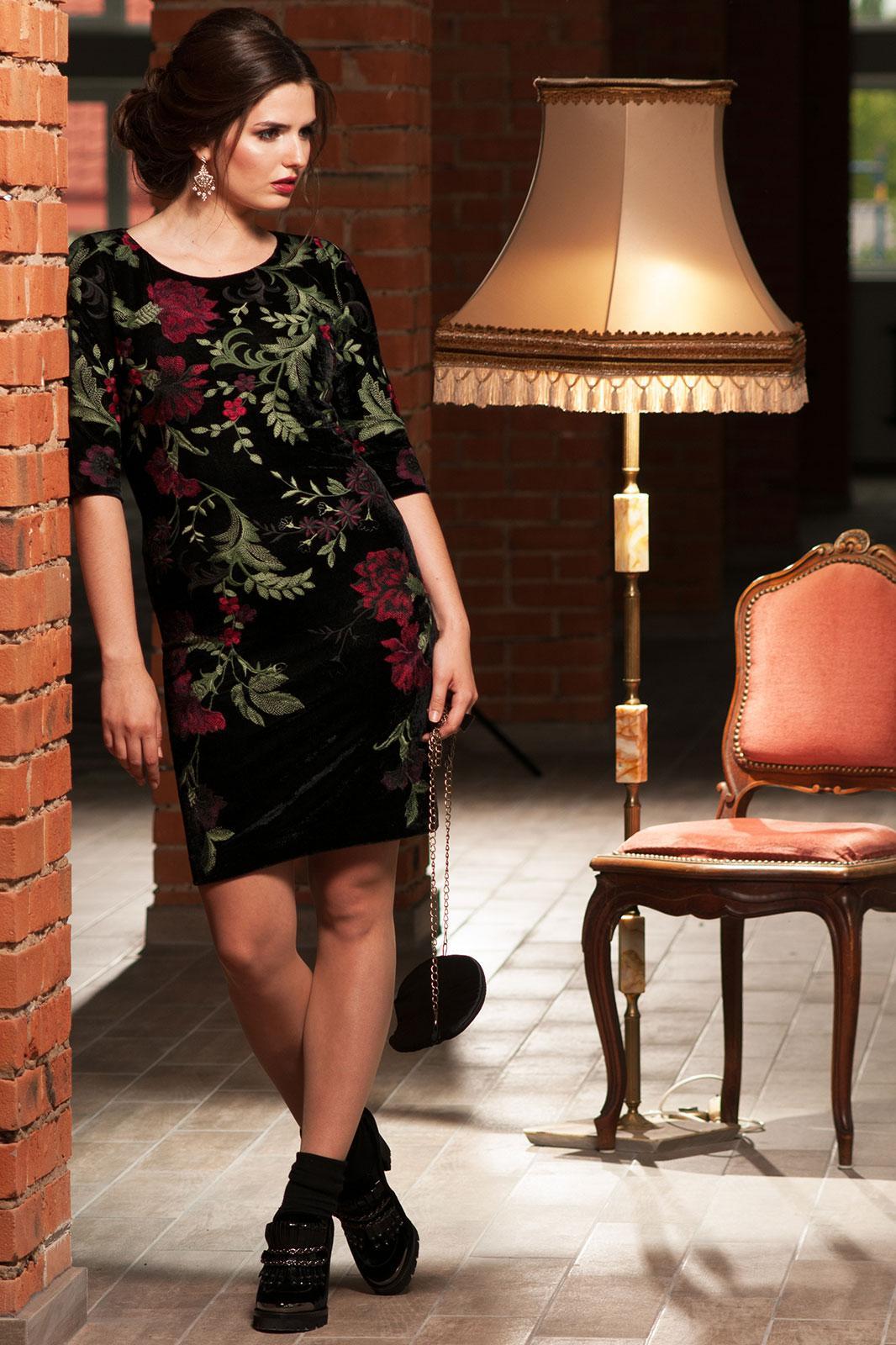 Платье Faufilure 464С цветы на черном - фото 2
