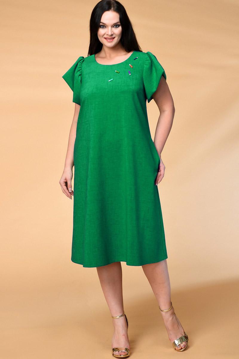 Платье Кокетка и К 522-1 зеленые тона - фото 1