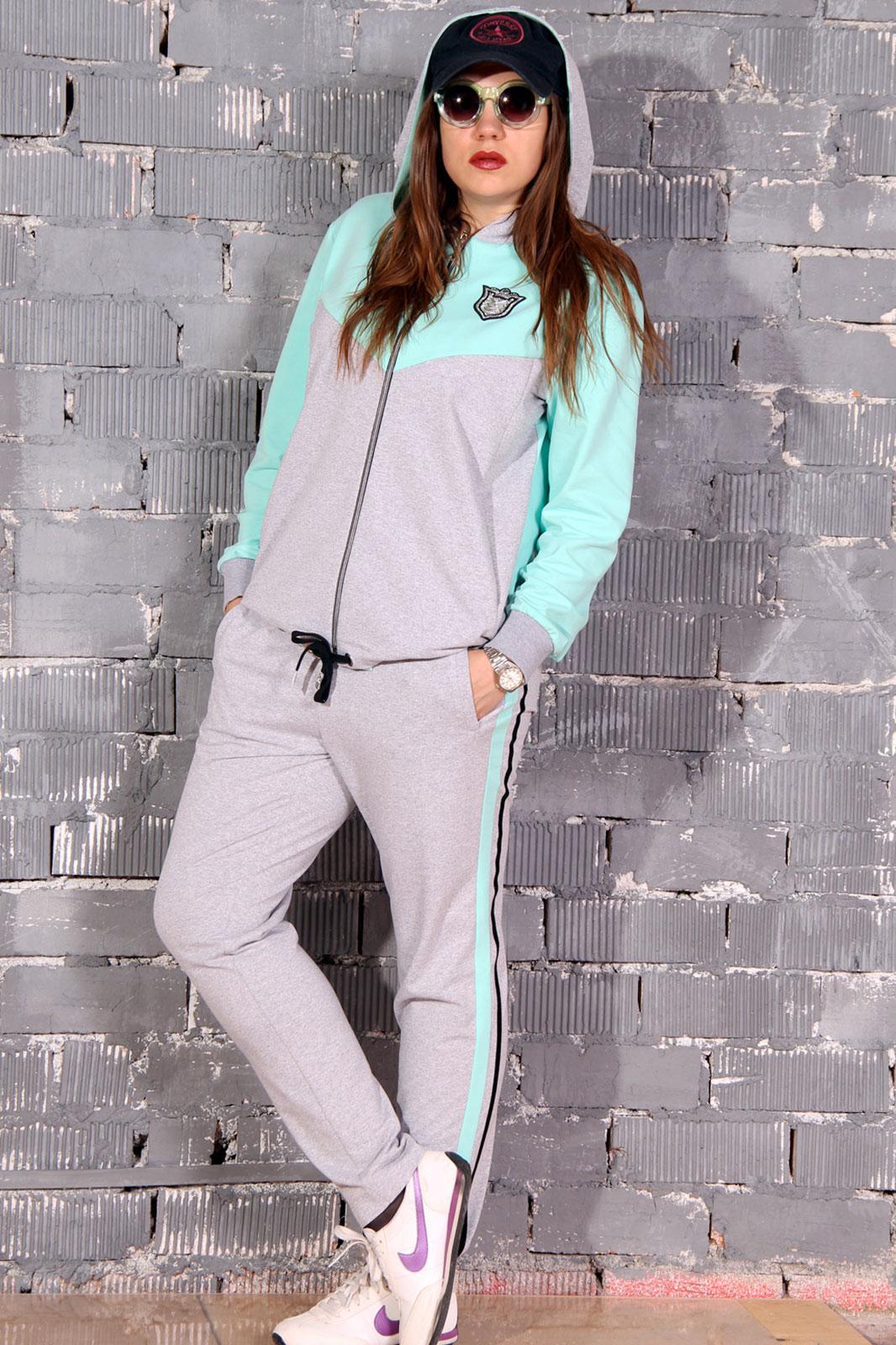 Спортивный костюм Runella 1347 серый+мята - фото 1