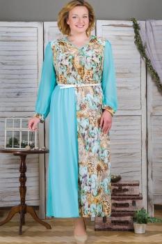 Платье Aira Style 440-1 Голубой/Цветы
