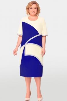 Платье Aira Style 554 молочный+синий