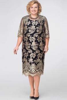 Платье Aira Style 593 Черный/Золото
