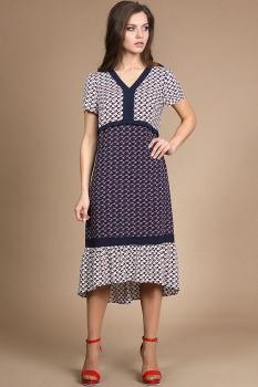 Платье Alani 745 белый+тёмно-синий