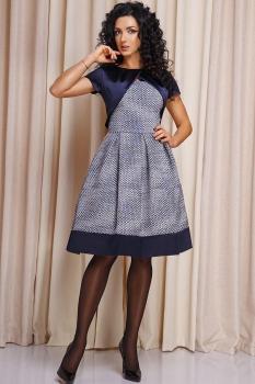Платье Anastasia 161 тёмно-синий с белым