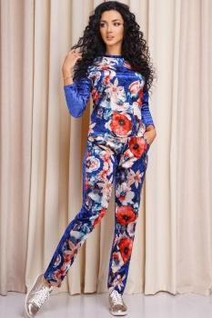 Костюм Anastasia 162-1 синий, цветы