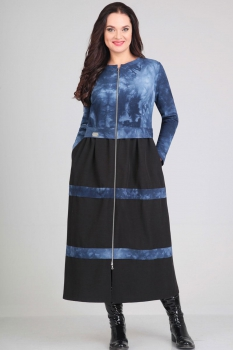 Платье Andrea Style 0037-1 синий