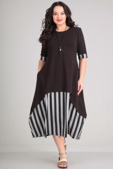 Платье Andrea Style 0051 серые-полосы