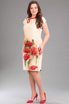 Платье Andrea Style 006-1 бежевые-тона