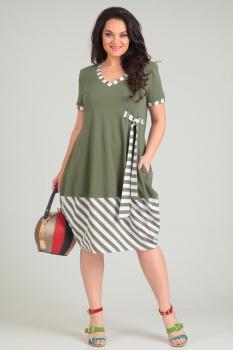 Платье Andrea Style 0064 олива