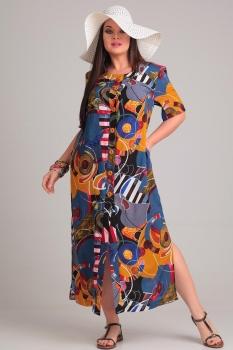 Платье Andrea Style 0066-2 синий