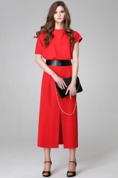 Платье Anna 899-1 красные тона