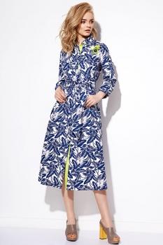 Платье Anna Majewska 1077 синий+белый