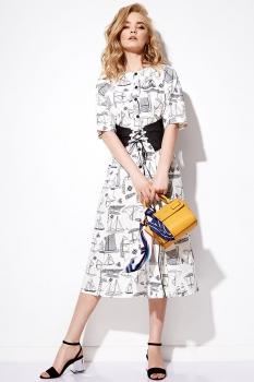 Платье Anna Majewska 1101 черно-белый