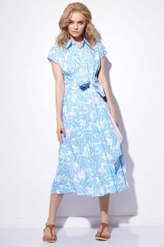 Платье Anna Majewska 877 бело-голубой