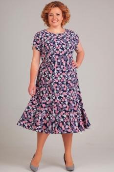 Платье Асолия 2363-2 синий в круги new