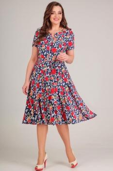 Платье Асолия 2364-1 синий в мелкие цветы
