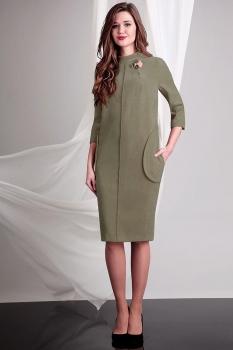 Платье Axxa 54053-1 бежево-оливковый