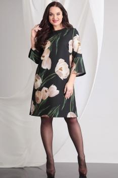 Платье Axxa 54060 цветы на темном