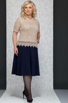 Платье Azzara 393Б темно-синий+беж