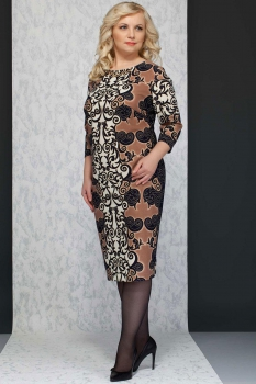 Платье Azzara 440 узоры с беж