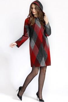 Пальто Bazalini 2884 Красно-серые ромбы
