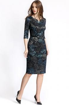Платье Bazalini 2887 Коричнево-голубые розы