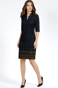 Платье Bazalini 2908 Темно-синий/Оливковый