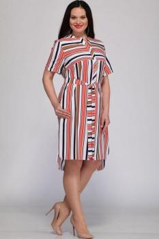 Платье Deesses 1107 коралловая полоска