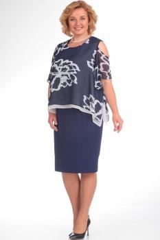 Платье Диамант 1203 тёмно-синий с белым