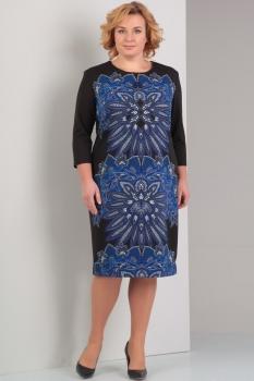 Платье Диамант 1229 чёрный с синим