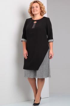 Платье Диамант 1231 чёрный с серым