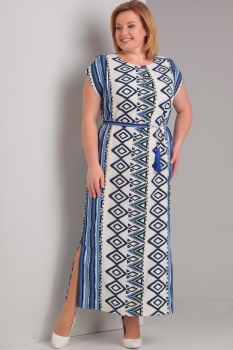 Платье Диамант 1294 белый с голубым