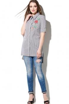 Блузка DiLiaFashion 0078-3 серо-голубой