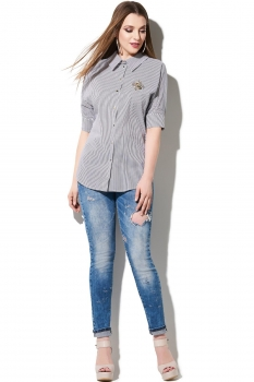 Блузка DiLiaFashion 100-3 серо-голубой
