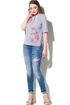 Блузка DiLiaFashion 105 серо-голубой