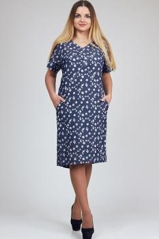Платье Diomel 473-3 синий в цветы