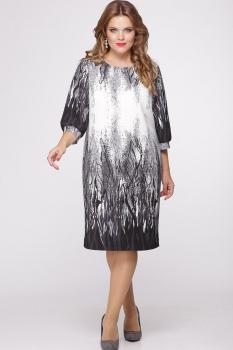 Платье Djerza 1424 темные тона с белым