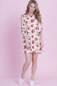 Платье Edibor 1081 белый в цветы
