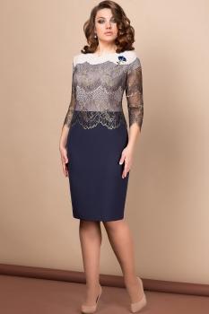 Платье Эледи 2661 Пудра/Темно-синий